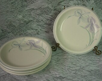 Pfaltzgraff SPRING SONG Salad/Bread and Butter/Dessert Plates - Set of 4 - Blue and Purple Irises