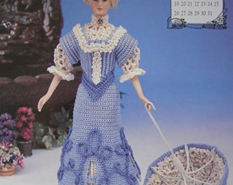 Annie's Attic Crochet Fashion Bed Doll Pattern May 1996 Edwardian Collection Barbie Doll Dress