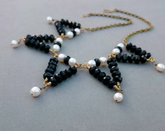 Statement Black and White Necklace - Chunky Freshwater Pearl and Black Crystal Necklace with Brass