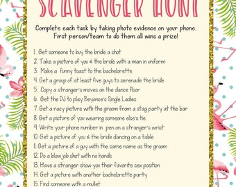 Instant Download Printable Bachelorette Scavenger Hunt Game Flamingo