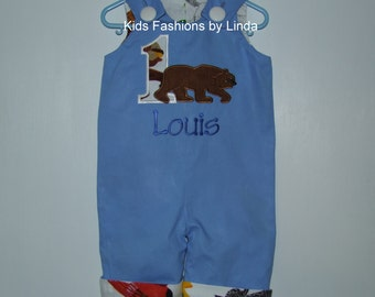 Personalized Applique Number Brown Bear Brown Bear Longall