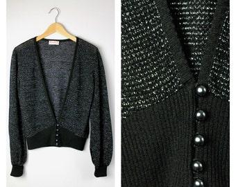 Vintage 1970's Glittery Glam Black + Silver Metallic Cardigan Sweater M