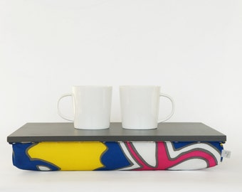 Lapdesk, iPad stand or wooden Breakfast in Bed serving Tray - Graphite grey with Yellow printed Pillow