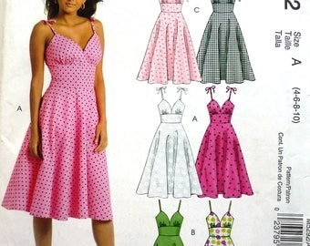 McCalls 5292 women's summer dress pattern sizes 4-6-8-10, beach vacation dress, fitted midriff, circular skirt, rockabilly sundress UNCUT