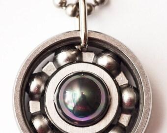 Black Shell Pearl Roller Derby Skate Bearing Pendant Necklace
