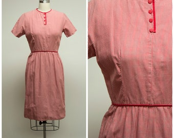Vintage 1960s Dress • Teachers Pet • Red Houndstooth Plaid Early 60s Sheath Dress by Lanz Size Small