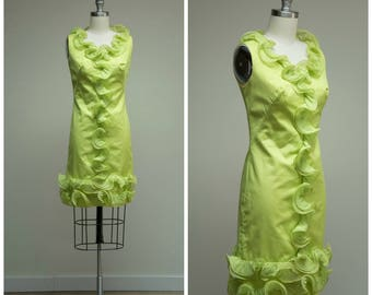 Vintage 1960s Dress • Mojito Afternoon • Bright Lime Green 60s Shift with Chiffon Ruffles Size XSmall