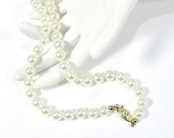 """Vintage Glass Pearl Necklace, Classic White Pearls, Faux Pearls, 24"""", Hand Knotted and Strung, Bridal, Bride, Wedding, Gift Idea, Excellent"""