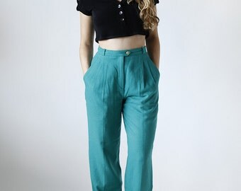 90s High Waisted Teal Wool Pleated Trousers Made in Greece size 2/4 - B2