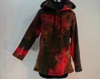 Plus sized tie dye Hoodie in 100% cotton fleece.