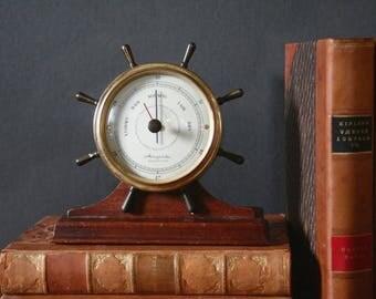 Vintage barometer, nautical style barometer, Airguide barometer, ship's wheel barometer, USA