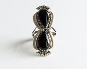 Sterling Silver Navajo Large Vintage Midi / Pinky Ring with Onyx Setting Size 3