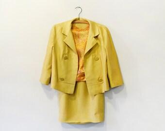 Mid Century Mustard / Gold Silk Suit Skirt Jacket Blouse Chic Sm Med