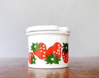 Mod Vintage Waechtersbach Jam / Honey Jar - Strawberry Graphic