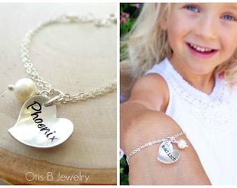 Flower girl gift idea, junior bridesmaid bracelet, heart charm bracelet for child, name ID bracelet, hand stamped wedding jewelry for kids