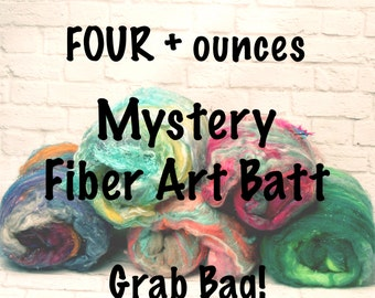 Mystery Fiber Art Batt for Spinning or Felting - 4+ Ounces