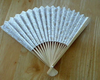 Asian Paper and Wood Bamboo Hand Fan Vintage