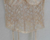 Vintage Lace Bustier Peach Longline Strapless Bra Carnival 38C Wedding Corset with Garters