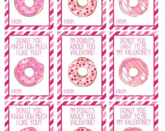Donut Valentine's Day Cards (set of 9) , Valentine's Day Cards, Printable,Instant Download, Digital