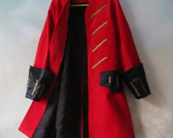 Child's Pirate Coat, Steampunk - Elizabeth Swan - Pirate Wedding - Fully Lined, All Cotton Velvet & Silk Fabric - Size 2 To 9, Made To Order