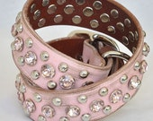 """Pink Leather Dog Collar, Bling Leather Dog Collar, Pink Crystal Sparkle Dog Collar Pink Leather, Sizes 16-24"""""""