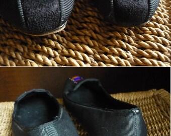 Black 80's jewelled textile low heel shoes / vintage slip on pumps