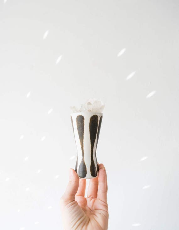 Tiny Mid Century Black, Brown and Ivory Studio Pottery Vase // Frank C Mann Vermont // Scandinavian Modern