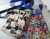 CUSTOM LISTING for Lauren at AnimeCoast: Custom Shoulderbags, Pug Bag, Pony Bag, over-the-shoulder zip purse