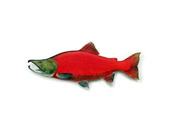 KOKANEE SALMON fish wood carving, fishing decor, fishing art, fly fishing art, fish art, trout,  fish wall mount, 22 inch