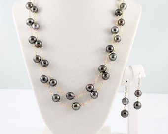 Long Tahitian pearl necklace, Tahitian pearl earrings, jewelry set, double length, saltwater black pearls, handcrafted gold: Simply Adorned