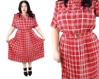 Plus Size 1980's Red Plaid Dress - Size 1X