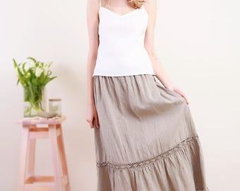 Linen Skirt Laced /Linen Petticoat/Linen Underwear/Linen Laced Underskirt