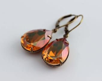 Swarovski Crystal Copper  earrings, Swarovski earring, bridal earrings, bridal jewelry, Amber earrings, Fall wedding, topaz earrings,