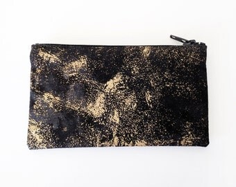 Coin Purse / Women's Clutch Purse with Zip and Card Slot in Black Gold