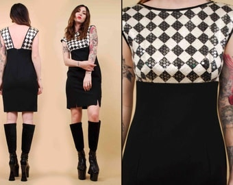 80s does 60s Vtg Iconic MOD Black & White Checker Wiggle Mini Dress / SEQUIN Pin Up Op Art Cocktail Party Sleek / Xs Sm