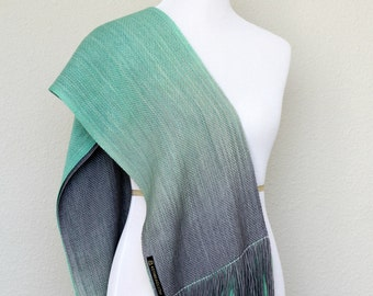 Woven stole, woven scarf, pashmina in gradient color mint green and grey with fringe gift for her