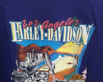 Harley Davidson Motorcycle t shirt tshirt Los Angeles special series 2 prints graphics front back size xxl made USA