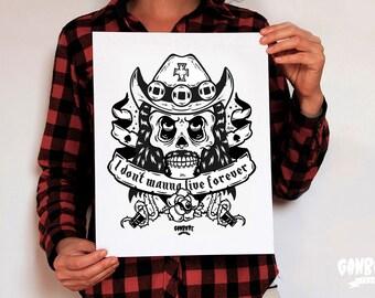 Lemmy Kilmister Skull  Screenprint Silkscreen Poster limited Lemmy Sugar Skull Lemmy Skull illustration motorhead quote