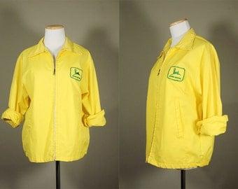 JOHN DEERE Work Jacket + Vintage 60s Work Wear + Bright Yellow Jacket + Vintage John Deere Patch + John Deere Logo Jacket + Cotton Jacket +