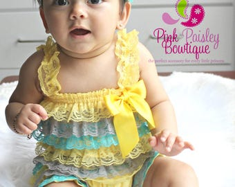 SALE Baby Romper, 1st Birthday Romper, Yellow you are my sunshine outfit, Baby Girl Outfit, 1st Birthday Outfit. Cake Smash outfit