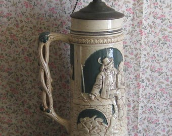 Rare Antique Large German Stein Lamp 2-Socket Brass Base