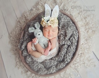 Bunny Ears Headband, Natural Vintage Easter Bunny Ears Headband, Newborn Headband, girls headband, baby headband, Beige and White
