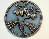 """Antique 1 3/8"""" Brass Button, Pie Crust Rim, Large 28mm Pierced Brass Button"""