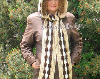 Crochet Pattern 183 Colored Hooded Scarf Crochet Patterns Beige Scarf Child Adult Woman Ladies Wrap Autumn Winter Neck Warmer Christmas