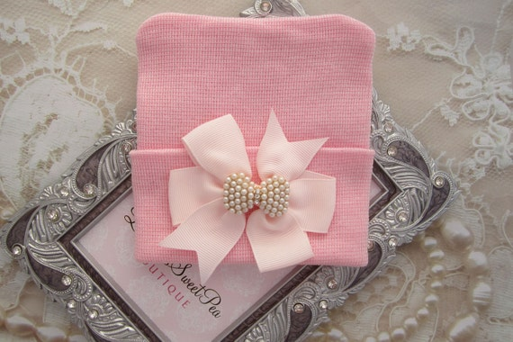 Pink Newborn Hospital Hat with a Pink Grosgrain Bow Adorned with a Pearl & Rhinestone Button, baby hat, infant, Lil Miss Sweet Pea Boutique