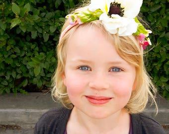 Child's flower crown tiara hair band - Pink with White Anemone