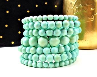 Statement Bracelet, Wood Bracelet, Memory Wire Bracelet, Mint, Blue, Chunky Bracelet, Big Bracelet, Statement, Boho, Round Bead Bracelet