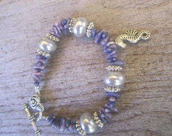 coral and pearls bracelet, seahorse bracelet, tropical bracelet, Hawaiian jewelry, purple coral