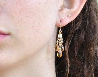 Citrine earrings, November Birthstone Earrings, Citrine Chandelier Earrings, Yellow Stone Earrings, Gift For Her