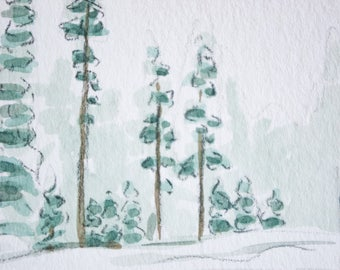 Snowy trees in tahoe #1, small watercolor art, original painting, wall decor, Tahoe California